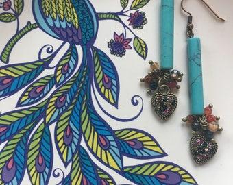 Hearts and beads dangle earrings