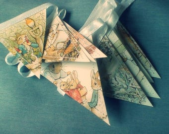Beatrix Potter Bunting. Sweet Paper Garland. Recycled Peter Rabbit Decoration.