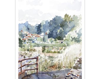 Watercolor Valentine Wolf on Thouet painting village gardens, vegetable drawing, landscape countryside, soft landscape watercolor original painting
