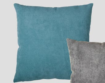 Two-tone Teal Blue and Grey Reversible Cushion