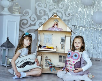 Barbie Doll House - Dollhouse Kit, Miniature Doll House, Victorian doll house, Laser cut dollhouse, Wooden dollhouse furniture include 6 pcs