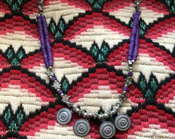 Ethnic bangladesh necklace with coins and beads
