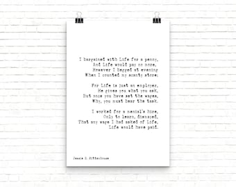 Motivational Poster, Positive Wall Art, Large Wall Art Quote Print, Bedroom Decor, Graduation Gift, I Bargained With Life For a Penny