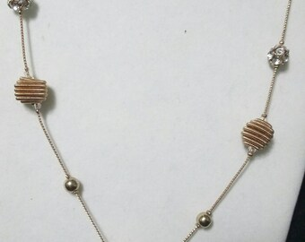 Vintage Long Single Strand with Vermicelli beads, and crystal beads goldtone chain flapper length
