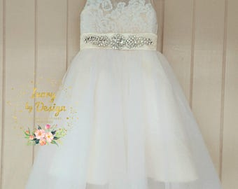 Sweet Cream Ivory Tulle Flower Girl Dress lace Bodice Sleeveless Princess Party Dress Knee Length Tea Length Floor length fully customisable