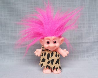 Forest Troll Caveman, Pink Eyes and Hair Troll, Vintage Troll Doll, Forest Troll Cave Man, Troll in Toga