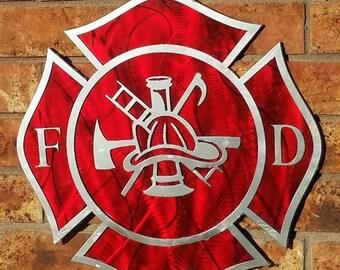 Red Fire Fighter Maltese Cross