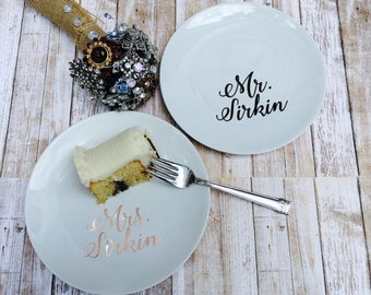 Personalized Wedding Cake Plate - Custom Mr and Mrs Plate - Mr & Mrs Dessert Plates - Personalized Tasting Plates - Reception Dishes