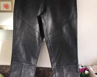 Black Real Leather Trousers with pockets zip on back sz uk 8