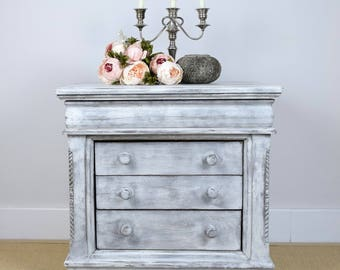 Vintage Chest of Drawers, Grey Nightstand, Small Chest of Drawers, Grey Bedside Table, Shabby Chic, Upcycled Furniture,  Painted Furniture