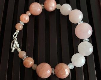 Rose Quartz/Sunstone/Moonstone/Rock Crystal Quartz/Sterling Silver Bracelet. Healing Natural Gemstone Bracelet. Yoga Mala Bracelet.