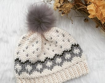 Beanie Crochet Pattern/ Tapestry Crochet Pattern/ Women's Hat/Toque Crochet Pattern/ DIY The Tegan Beanie / Intermediate Level Crochet