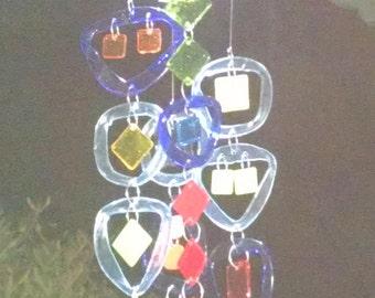 NEW Solar L.E.D. LIGHT with Glass Wind Chime.  Suncatcher, Patio decor, Handmade windchime, Garden decor, Great gift 30