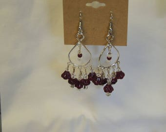 Ruby Red and Clear Bead Chandelier Earrings