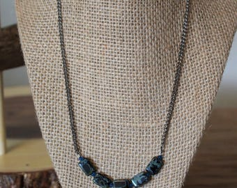 SALE:Czech Glass Rectangle Necklace