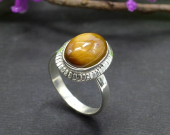 Natural Tiger's Eye Oval Gemstone Ring 925 Sterling Silver R249