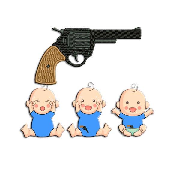 Gun embroidery design revolver machine