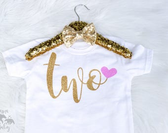Baby Girl's 2nd Birthday Shirt, Second Birthday, I'm Two outfit, 2, Two Shirt, Birthday Girl is 2, Gold Two Shirt, Second Birthday Outfit