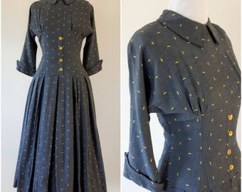 Vintage 1950's Grey and Yellow Fleck Dress | 1950s Dress |