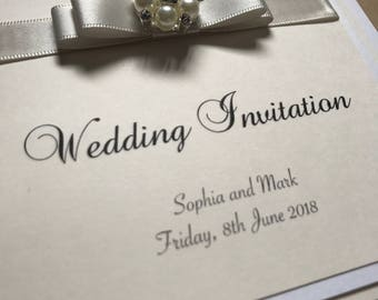 Luxury Ribbon Wedding Invitation Suite - Any Colour Grace with Brooch 2007