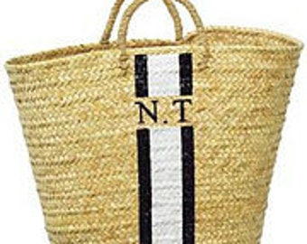 Straw bag with handles and figures