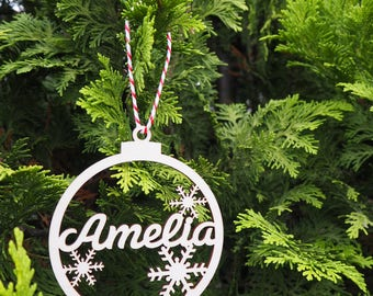 Personalised Wooden Christmas Bauble / Tree Decoration / Snowflake / Name Bauble / Children / First Christmas / Gift / Present / Home /Decor