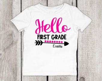 School Shirt, First Grade Shirt, Back to School, 1st Grader, Back to School Girls Shirt, First Grader, Hello First Grade, Hello School
