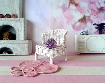 Miniature white couch. french provincial, shabby chic style reclaimed doll sofa. Floating chabby distressed furniture. Cottage chic for BJD.
