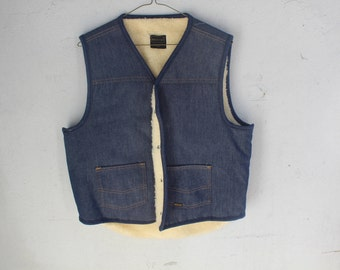 70s 80s 90s Denim Fleece lined Vest Vintage by SEARS GENUINE ROEBUCKS