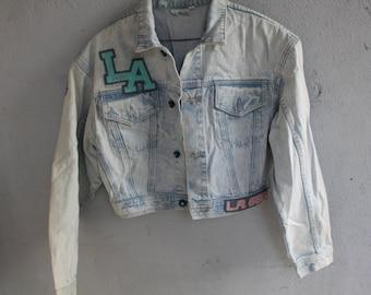 1980s Rare Vintage LA Gear cropped acid wash pink jean jacket  size MEDIUM 