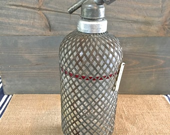 Vintage Seltzer Bottle- Clear with Gray Woven covering