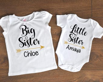 Custom Siblings Set, Custom Shirts, Sisters Set, Matching Shirts, Bodysuit, Onesie, Matching Girls Outfit, Sisters, Big and Little, Glitter