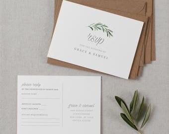 Postcard RSVP Template, Printable Wedding Postcard RSVP, Postcard Reply Cards, Post Card RSVP, Editable Rsvp Postcard Template - KPC02_103