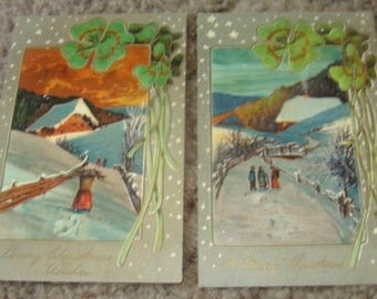 2 Pretty Vintage Embossed Christmas Postcards