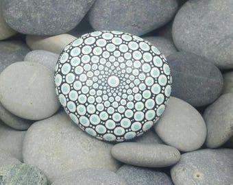 White & Aqua hand-painted Mandala Stone - Paint Stone - Unique Mandala Rock - Calm - Dotillism - Mandala Art - Chakra