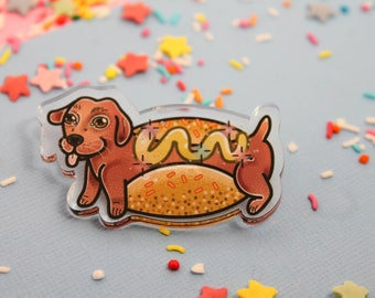 Hot Dawg!- Laser Cut Illustrated Acrylic Brooch - tattoo flash design pin collar clip sausage dog hot dog