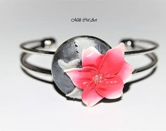 Jewelry bracelet Silver Flower Pink white clay and ancient polymer