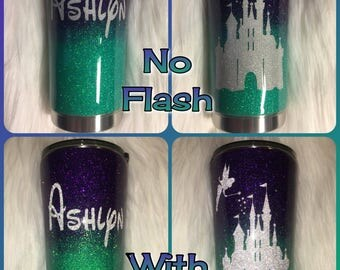 Disney Castle and Tinkerbell - Ombre - Yeti or Ozark Trail Tumbler/cup- Customizable