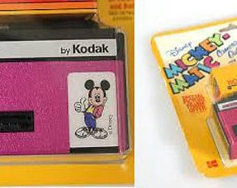 Disney Mickey-Matic 110 Film Camera in Original Packaging//Pink Camera//Micky Mouse