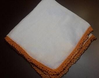CLEARANCE SALE Vintage Floral Handkerchief, pretty hankies, hanky flowers, crochet handkerchief