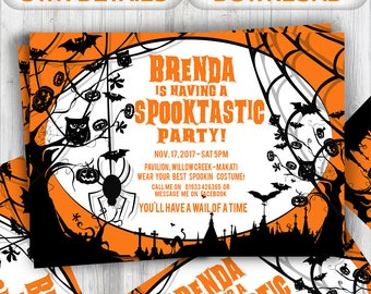 Halloween Party Invites INSTANT DOWNLOAD | Editable Halloween Party Invite Template | Printable PDF