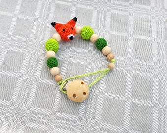 Natural and stylish baby pacifier clip, Gift for baby, Fox Pacifier clip, Pacifier holder, Baby Dummy holder, Dummy chain, Teething beads