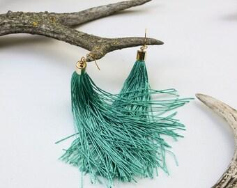 Tassel earrings Boho jewelry Fringe earrings Sea green dangle earrings Gift for women Bachelorette jewelery Long earrings Mint tassels