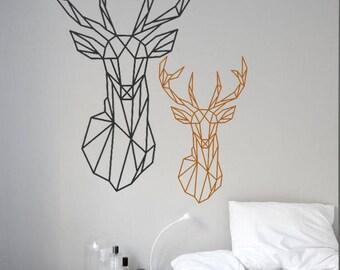 Geometric Buck Stag Deer Head Minimal Wall Art Decal Interior Design Lines