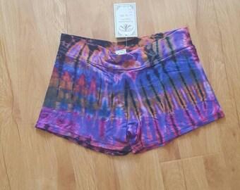 Tie dye spandex shorts, festival shorts, yoga shorts, one size, Purple color
