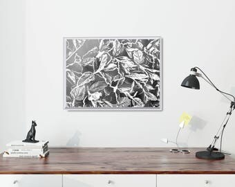 Modern Nordic Poster, Large Black And White Poster, Nature-inspired Art Print, Black And White Office Art Print, Modern Black Leaf Poster