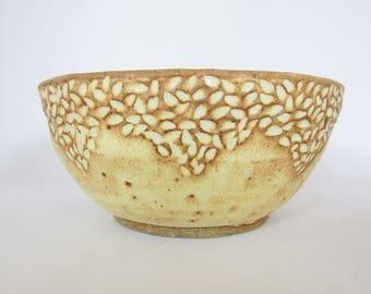 Yellow Ceramic Bowl / Hand Carved Bowl