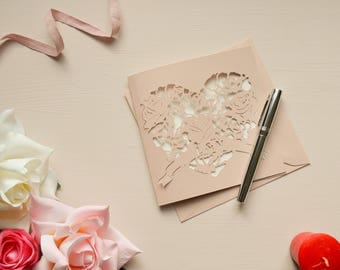 Personalised Rose Heart Initial Couple Papercut Valentine Card Rose Gold Greetings Card