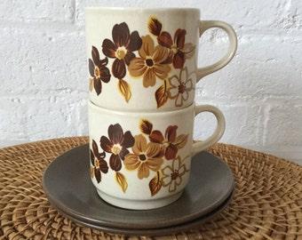 Johnson of Australia Brazilia pattern Vintage tea duo 70s ceramics Only one set left