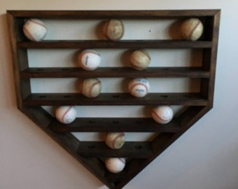 Large Baseball Display Shelf, Holds 30 Baseballs, Baseball Shelf, Home Plate Baseball Shelf, Home Plate Shadow Box, Baseball Shadow Box